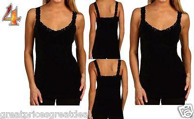 4Pk Womens Black Lace Trim Strap Tank Tops Seamless Cami Tee Fits  S M L Twc306