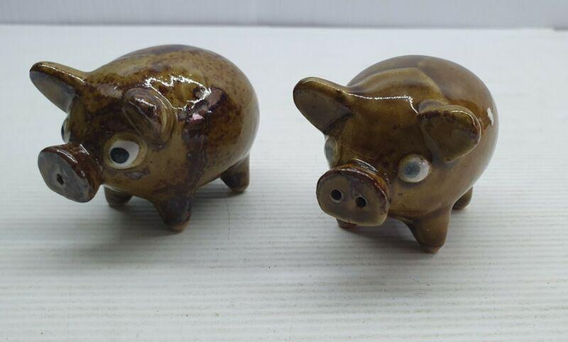 Pig brown retro Vintage Salt and pepper shakers set Japan ceramic