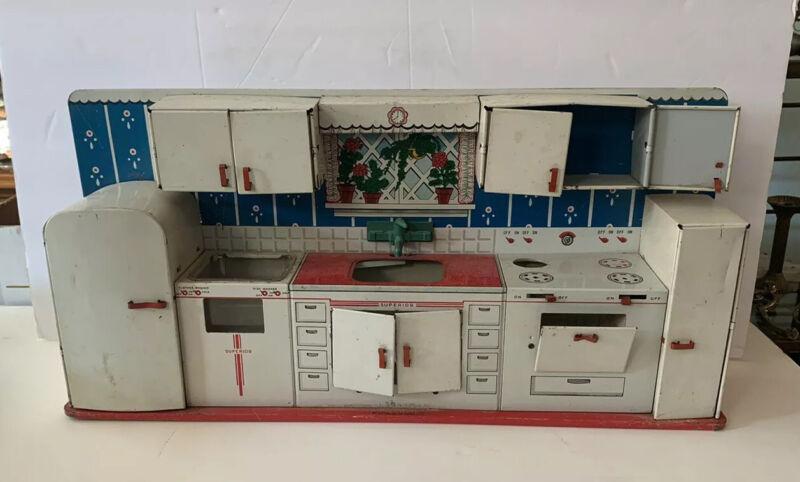VINTAGE  Tin Litho Toy Dollhouse Kitchen Sink~Stove~Washer SET Nice