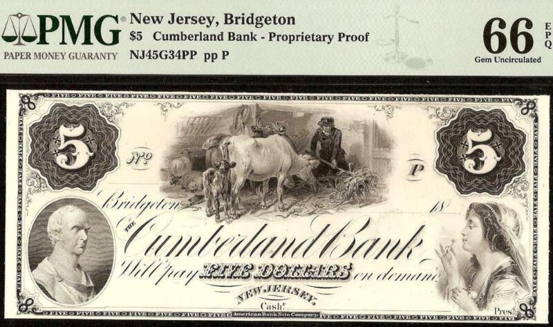 1800s $5 PROOF BRIDGETON NEW JERSEY CUMBERLAND BANK NOTE LARGE CURRENCY PMG 66