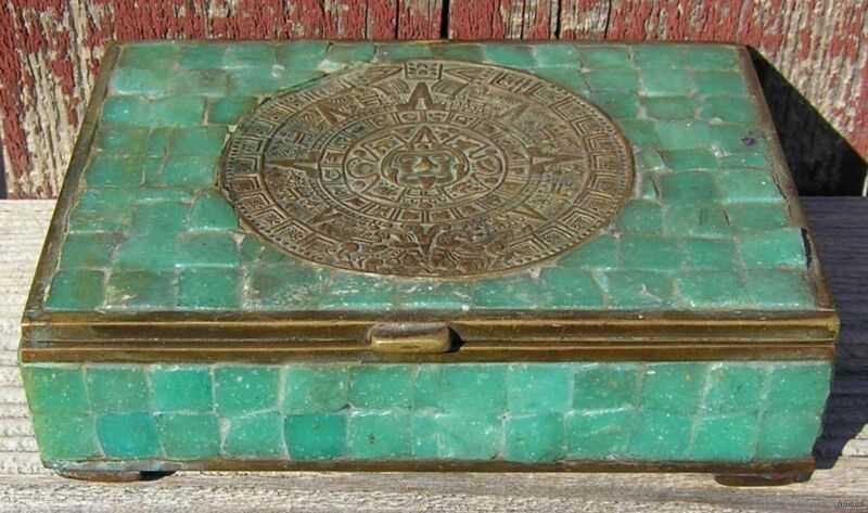 Vintage Made in Mexico Cigarette Box Brass & Turquoise ? Jade ? Aztec Calendar