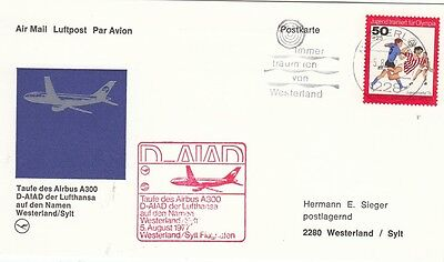 (44454) Germany Postcard Cover Airbus A300 5 August 1977 on Lookza