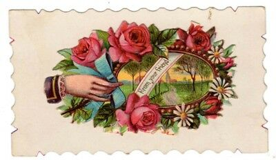 Vintage Beautiful Victorian Hidden name card From your Friend Picture Perfect