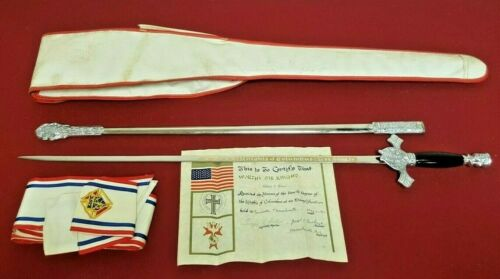 Knights Of Columbus SWORD, w/ 1967 Fourth Degree CERTIFICATE, HAT, CASE & SASH