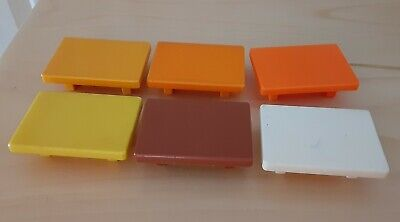 Vintage Fisher Price little people lot/6 coffee tables orange/yellow/brown/white
