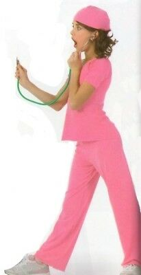 Doctor PINK Dance Costume Scrubs & Cap Dentist Nurse Clearance Child & Adults (Kids Nurses Outfit)