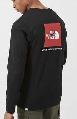 The North Face Long Sleeve T shirt Black Red Current Season XS S M L XL XXL
