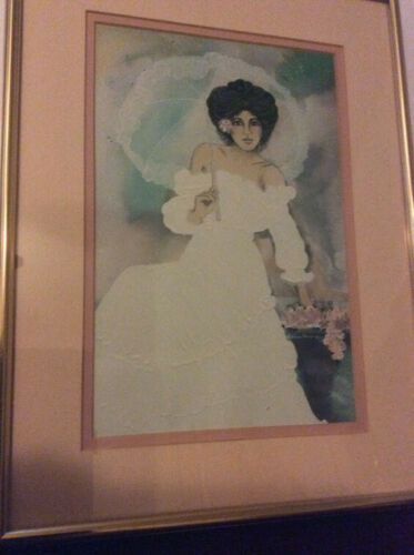 Original Signed Diana Hansen Young Painting ~ Matted Frame ~ 1989