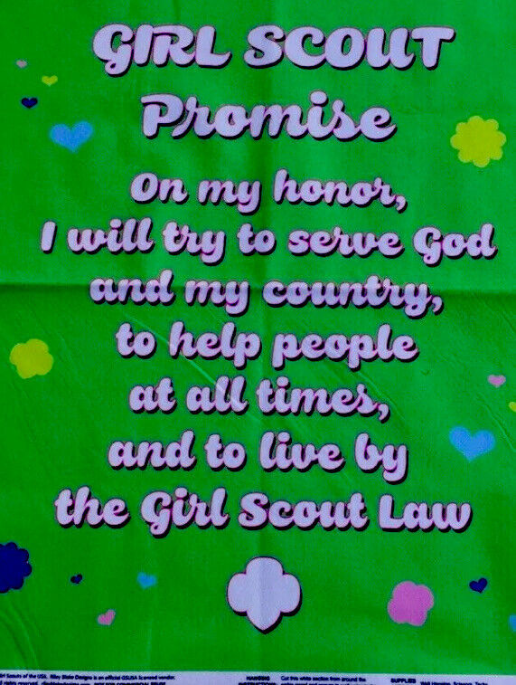 Girl Scout Promise Green Fabric Panel 1 Yard Per Order New Fabric Cut From Bolt
