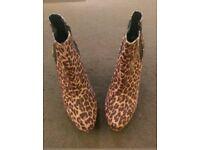 Leopard print boots size 6