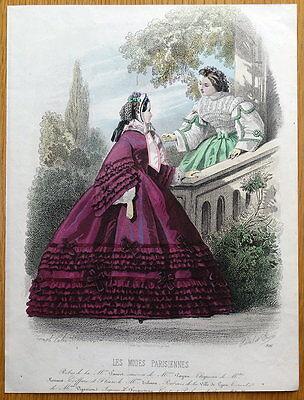 LES MODES PARISIENNE, PARIS FASHION plate 916 antique hand coloured print 1859