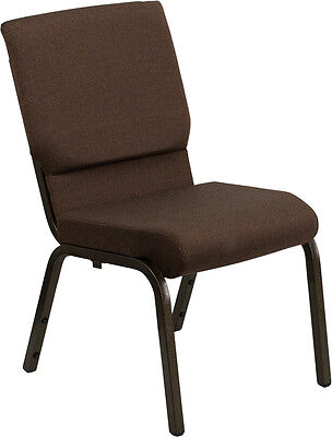 Lot Of 50 18.5w Brown Fabric Stacking Church Chair - Gold Vein Frame
