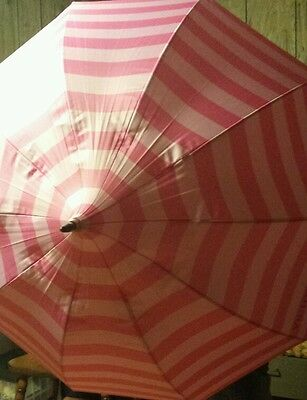 New Victoria/'s Secret Compact Umbrella Classic Pink Stripe Neon Green $68