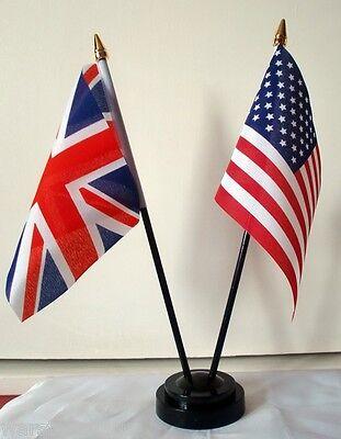 USA & UNION JACK SET OF 2 TABLE DESKTOP FLAGS U.S.A. BRITAIN UNITED STATES FLAG