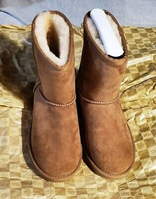 UGG Kids Classic Short Deco Stitch Leather Boots Chestnut Brown 1009254K Size 2