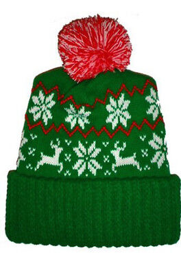 Green Knit Beanie Cap (Green Reindeer Christmas Ugly Sweater Party Beanie Winter Knit Cap )