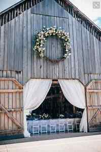 Long white drapery - used to hang outside barn doors at wedding