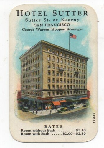1920s Color Advertising Trade Card Hotel Sutter San Francisco CA