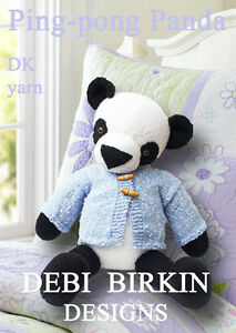 ON SALE - PANDA teddy bear toy knitting pattern