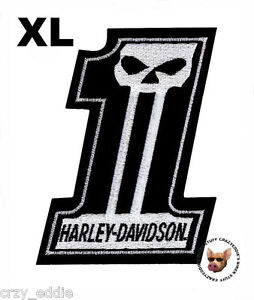 HARLEY DAVIDSON NUMBER 1 SKULL  PATCH *XL** MADE IN USA *OBSOLETE SIZE **
