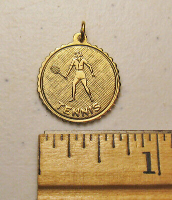 1/20 12K Gold-Filled Female Tennis Player Figure Sport Round Charm - Gold Female Tennis Player Charm