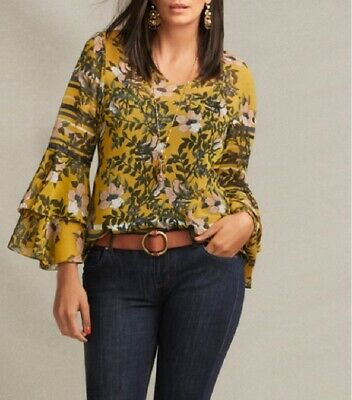 Cabi 2019 Spring Scene Blouse, pure romance, pops beautifully, XS, S, M, L, (Perfect Spring)