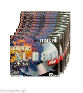 MAXELL Music CDRW 10 Pack Jewel Cased Re-Writeable CD's - 10 Discs CD-RW Audio