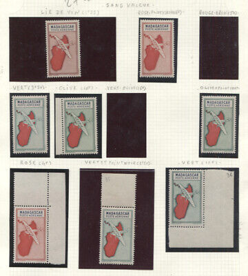 MADAGASCAR 1942-44 AIR POST ISSUE ESSAYS PERFORATED AND IMPERF ON COUPLE PAGES #