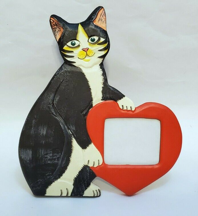 "Cat Picture Frame With Heart Black And White Kitten For Photos 2.5"" x 2.75"""