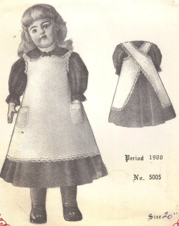 """DOLL DRESS sewing PATTERN 19 - 20"""" Period Victorian German French vintage look"""