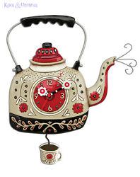 Cheerful KETTLE'S ON Tea Kettle Designer Wall Clock by Allen Designs