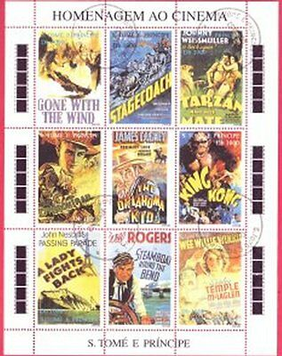 S Tome E Principe Used Miniature Sheet Containing 9 Stamps Showing Famous Films