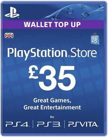 Playstation PS4 PS3 PSVITA £35 wallet top up - only £20 (buy games incl FIFA 18, Pro Evo)