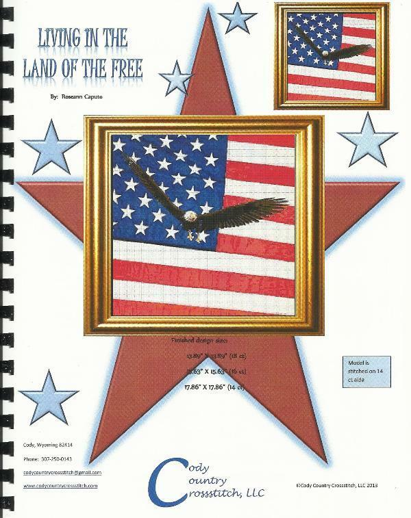Patriotic Cross Stitch Pattern - Eagle US Flag - LIVING IN THE LAND OF THE FREE
