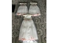 3 x Ivory and Pink Flowergirl / Bridesmaid Dresses BNWT