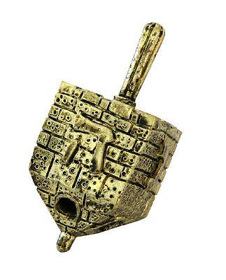 Hanukkah,Brass Decorative Dreidel,Gold Colored,Bricked Jerusalem Wall, 2