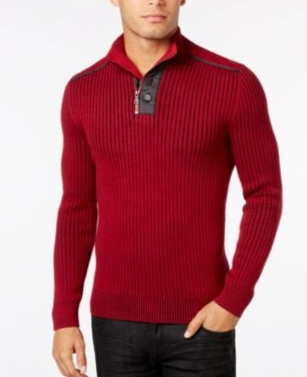 INC Quarter Zip and Button Ribbed Sweater Pull Over - Rhubar