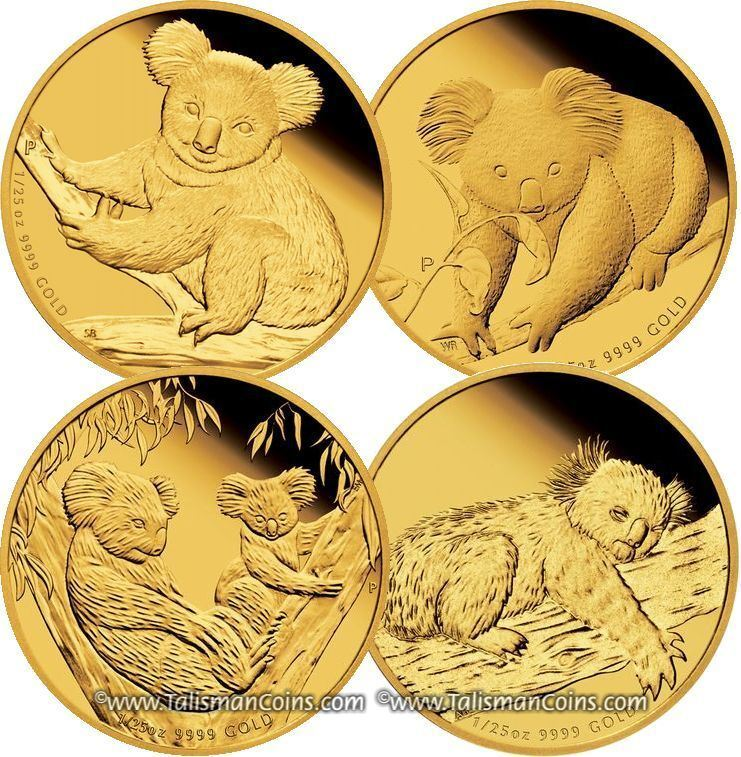 Australia 2009, 2010, 2011, 2012 Koala 1/25 Oz Gold Discount 4 Pack Proof Set