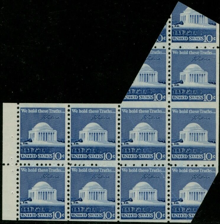 #1510f 10¢ Vertical Pair, Imperf Between In #1510c With Miscut Error Bp8501