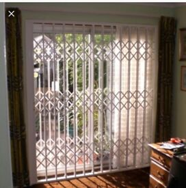 White retractable patio door security grilles!!