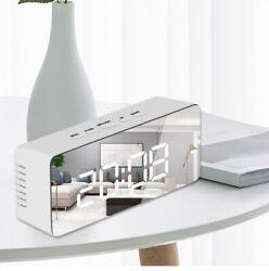 LED Mirror Alarm Clock Digital Snooze Wake Large Time Temperature Home Display