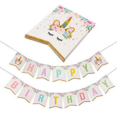Unicorn Banner Gold Real Glitter Bunting Garland Flag Happy Birthday ()
