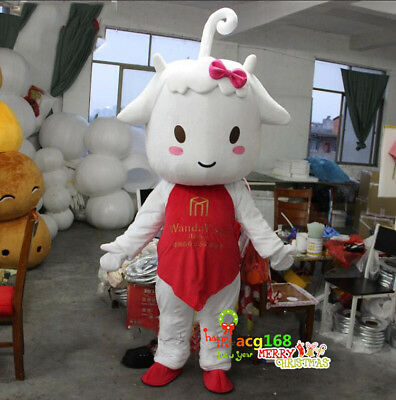 Milk Sheep Mascot Costume Suits Cosplay Party Game Outfits Adults Halloween](Sheep Mascot Costume)