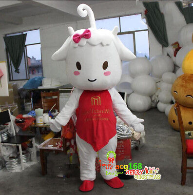 Halloween Milk Sheep Mascot Carnival Costume Advertising Goat Adult Dress Outfit](Sheep Costume Halloween)
