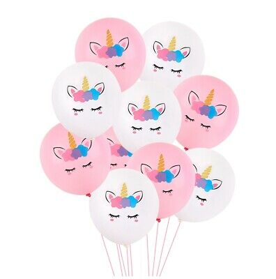 12 Pcs Unicorn Birthday Party Pink and White Balloons Supplies Set USA - Balloons And Parties