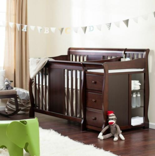 Baby Crib Changing Table Set Infant Nursery Furniture Wood Toddler Bed Boy Girl