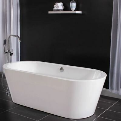 "Miseno 71"" Free Standing Oval Acrylic Bathtub - Overflow Drain Assembly"