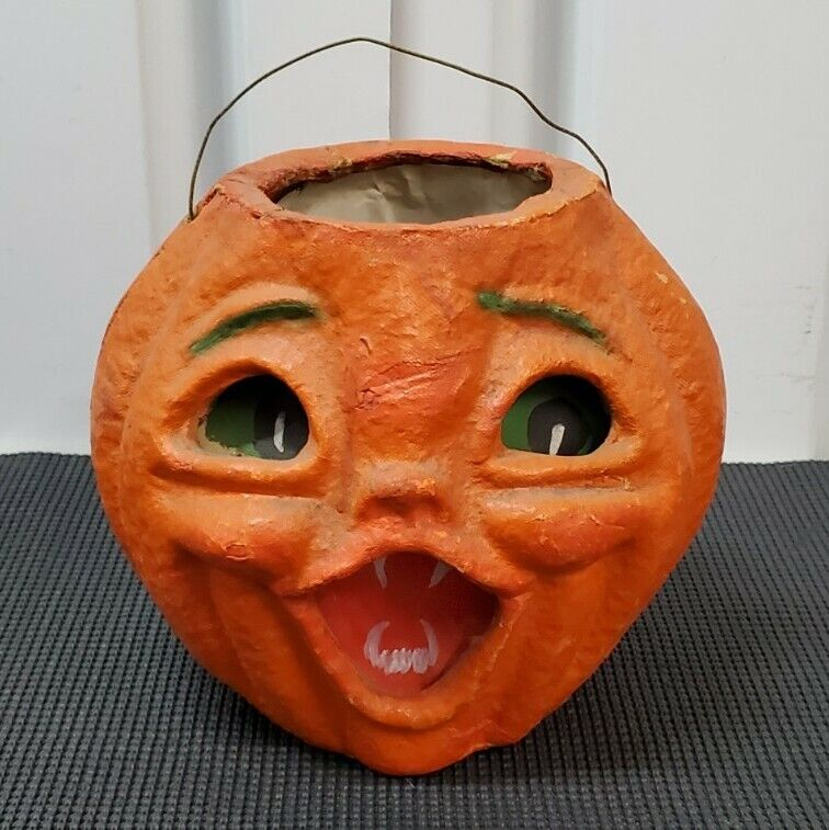 Vintage Woolworth Halloween Paper Mache Jack-O-Lantern Double Face Candy Bucket