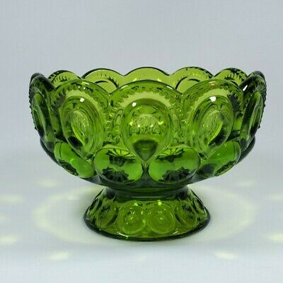 Vintage L. E. Smith Green Moon and Stars Footed Bowl