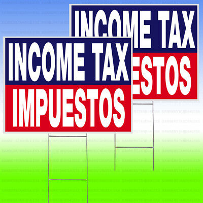 Income Tax Impuestos Yard Sign Stake 18x24 Outdoor Lawn 2 Pack - Bb